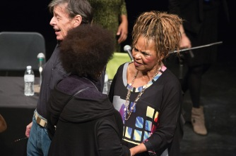 Shange accepts award at CCNY; photo by Warut Snidvongs