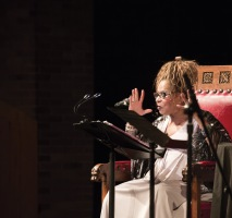 Shange reads onstage